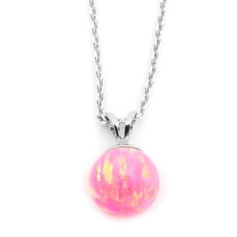 Solid Sterling Silver Rhodium Plated 6mm Neon Pink Simulated Opal Pendant Necklace, pendant only