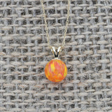 14k White Gold 6mm Orange Fire Simulated Opal Pendant Necklace, pendant only