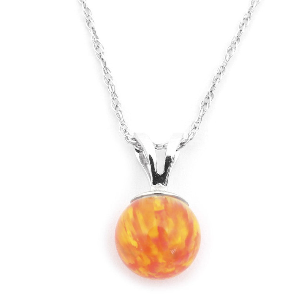 "14k Yellow or White Gold 7mm Orange Fire Simulated Opal Pendant Necklace, 13"" 15"" 16"" 18"" 20"" 22"""