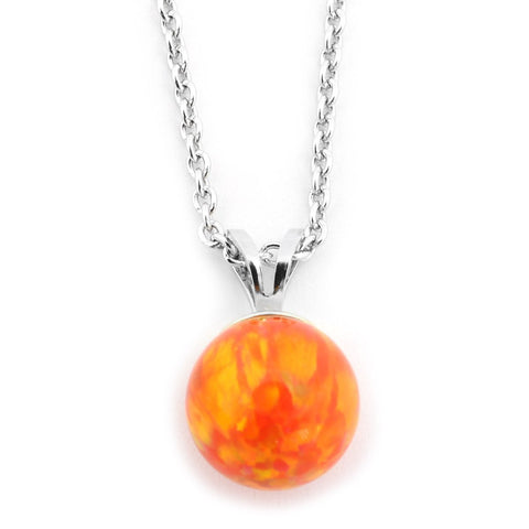 Solid Sterling Silver Rhodium Plated 10mm Orange Fire Simulated Opal Pendant Necklace, pendant only