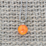 Solid Sterling Silver Rhodium Plated 5mm Orange Fire Simulated Opal Pendant Necklace, pendant only