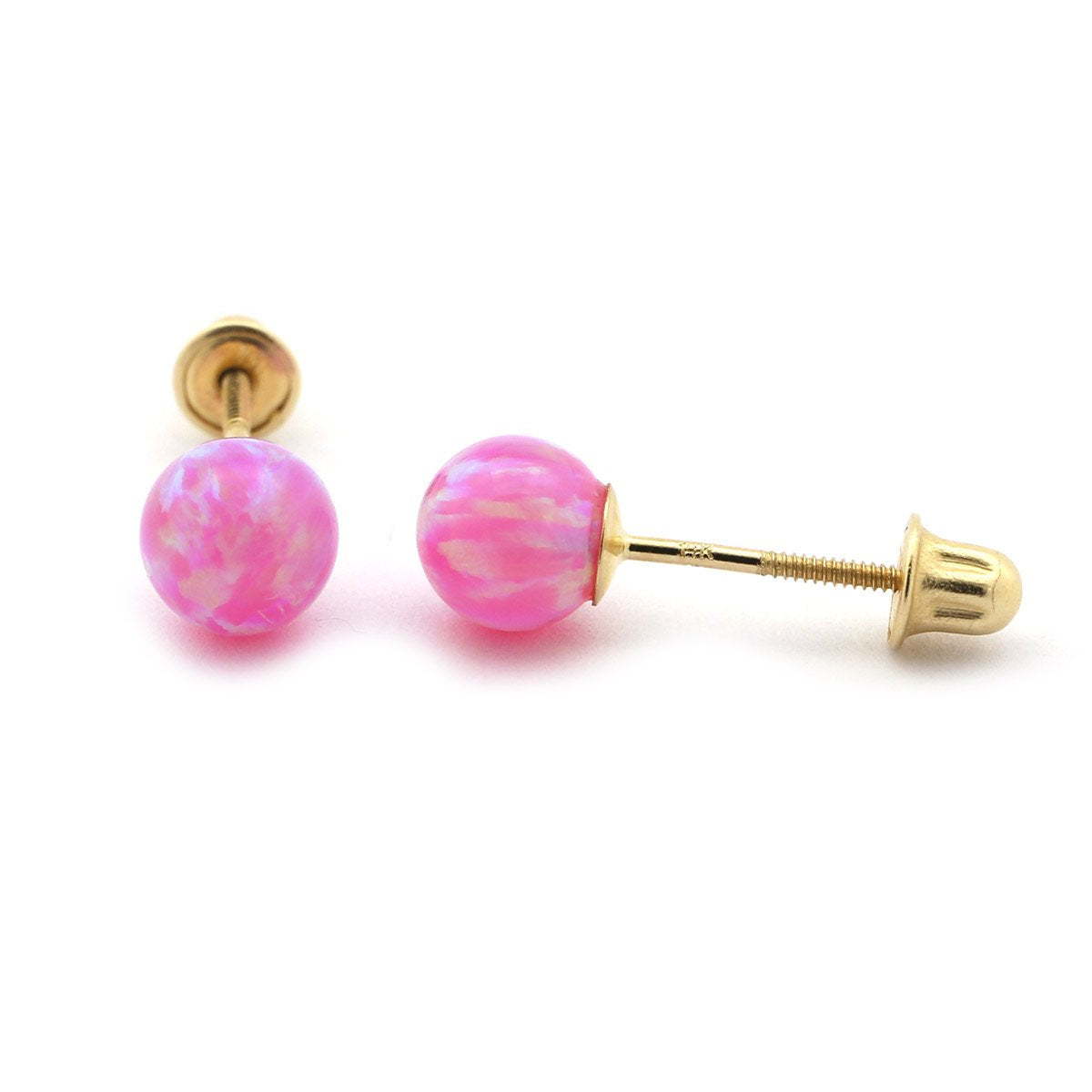 5e22a27b2 14k Yellow or White Gold or Sterling Silver Pink Simulated Opal Babysafe Screwback  Ball Stud Earrings