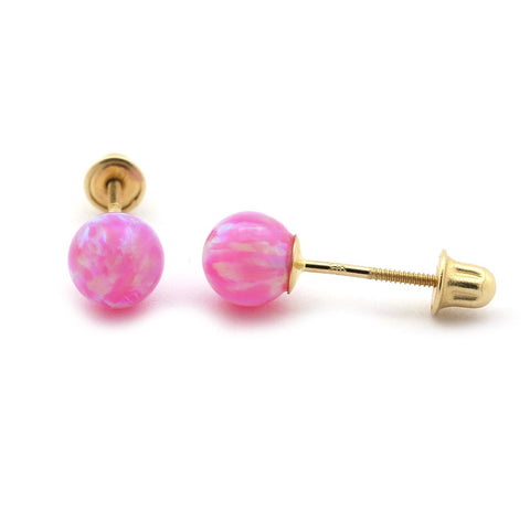 Sterling Silver Pink Simulated Round Opal Ball Stud Earrings with Baby Safe Screwbacks - 3mm