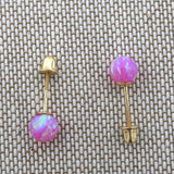Sterling Silver Rhodium Plated Pink Simulated Opal Ball Stud Earrings with Child Safe Screwbacks - 3mm