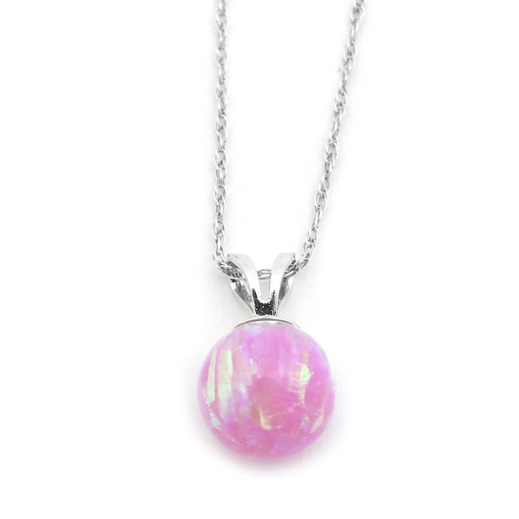 "14k Yellow or White Gold 5mm Pink Simulated Opal Pendant Necklace, 13"" 15"" 16"" 18"" 20"" 22"""