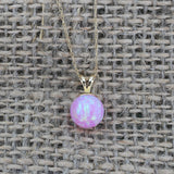 14k White Gold 7mm Pink Simulated Opal Pendant Necklace, pendant only