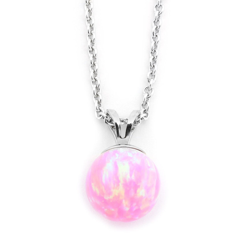 Solid Sterling Silver Rhodium Plated 5mm Pink Simulated Opal Pendant Necklace, pendant only
