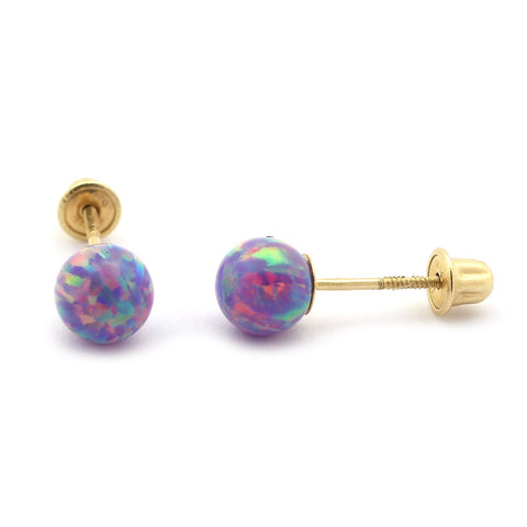 Sterling Silver Rhodium Plated Purple Simulated Opal Ball Stud Earrings with Child Safe Screwbacks - 3mm