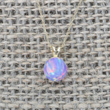 14k White Gold 5mm Purple Simulated Opal Pendant Necklace, pendant only
