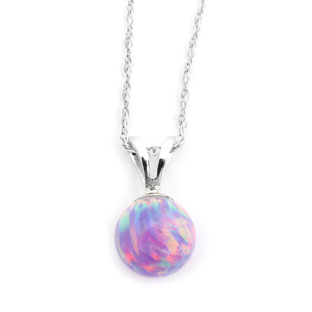 "14k Yellow or White Gold 8mm Purple Simulated Opal Pendant Necklace, 13"" 15"" 16"" 18"" 20"" 22"""