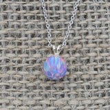 Solid Sterling Silver Rhodium Plated 8mm Purple Simulated Opal Pendant Necklace, pendant only