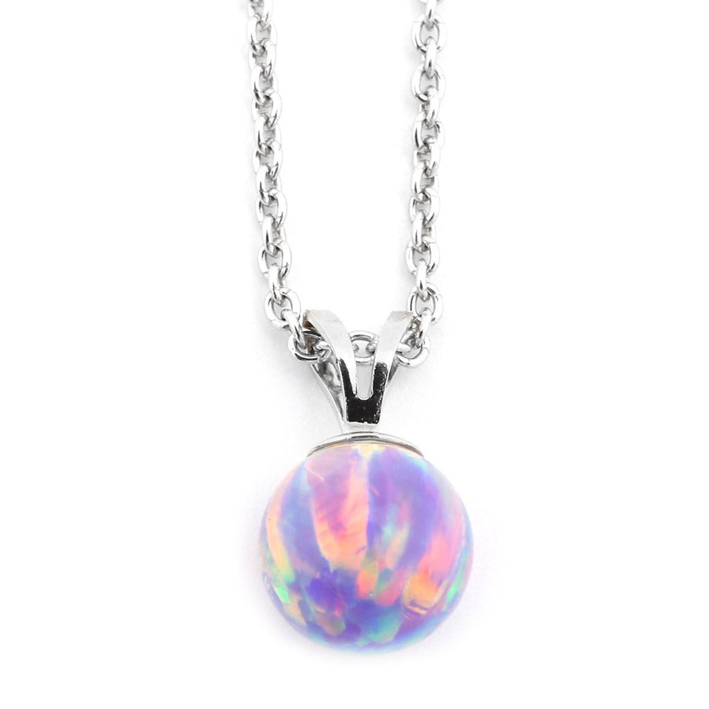 Solid Sterling Silver Rhodium Plated 9mm Purple Simulated Opal Pendant Necklace, pendant only