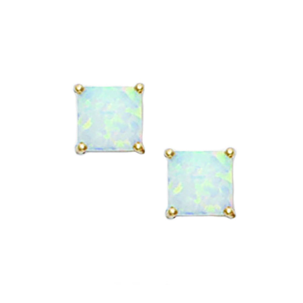 14k Yellow Gold 4mm Square Simulated Opal Stud Earrings