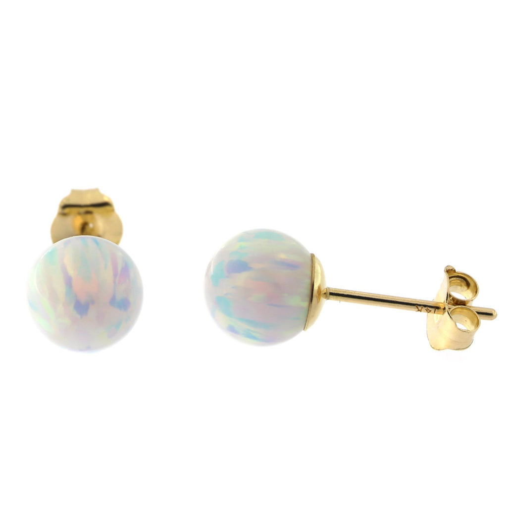 14k Yellow Gold 6mm Simulated Opal Ball Stud Earrings