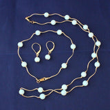 14k Yellow Gold White Simulated Opal Diamond Cut Tin Cup Station Necklace, Bracelet and Earrings Set