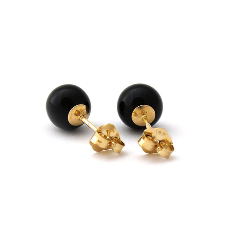Solid Sterling Silver Rhodium Plated Black Simulated Onyx Ball Stud Earrings - 10mm