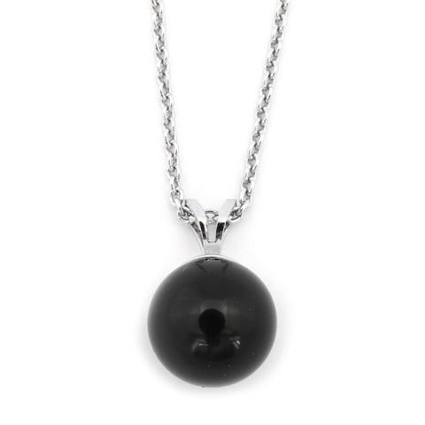 Sterling Silver 5mm Black Simulated Onyx Pendant Necklace, pendant only