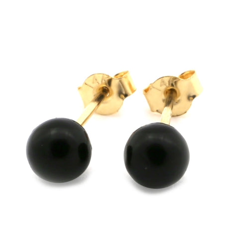 14k Yellow Gold 4 mm Small Black Simulated Onyx Ball Stud Earrings