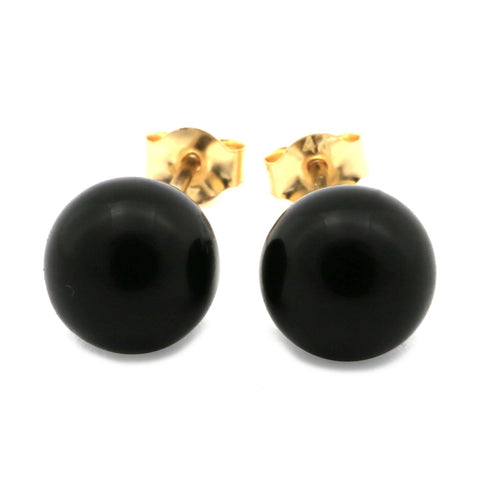 14k Yellow Gold 6 mm Black Simulated Onyx Ball Stud Earrings