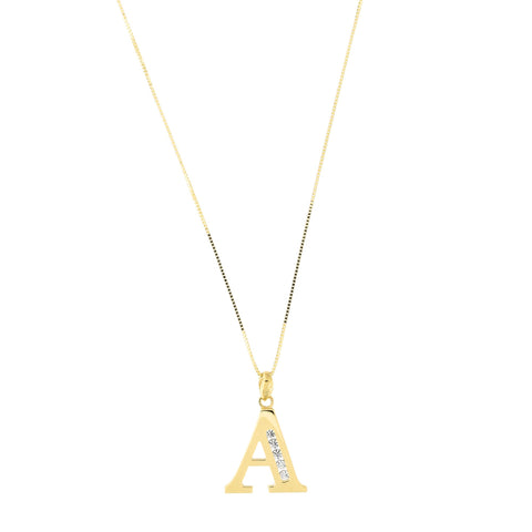 14k Yellow Gold Large Cubic Zirconia Initial Pendant Necklace, A, 18""