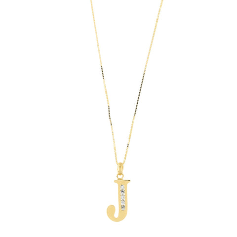 14k Yellow Gold Large Cubic Zirconia Initial Pendant Necklace, J, 17""