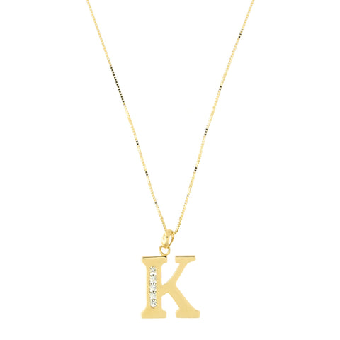 14k Yellow Gold Large Cubic Zirconia Initial Pendant Necklace, K, 17""