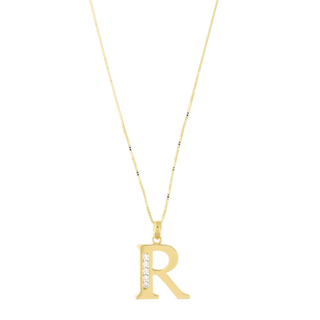 14k Yellow Gold Large Cubic Zirconia Initial Pendant Necklace, R, 16""
