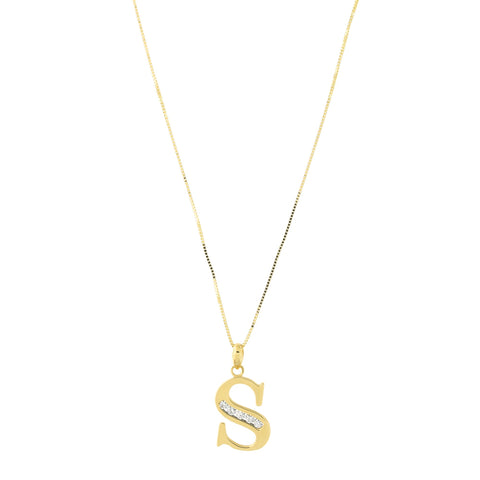 14k Yellow Gold Large Cubic Zirconia Initial Pendant Necklace, S, 15""