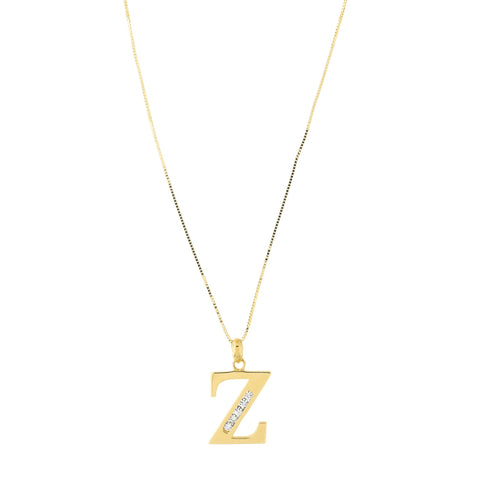 14k Yellow Gold Large Cubic Zirconia Initial Pendant Necklace, Z, 17""