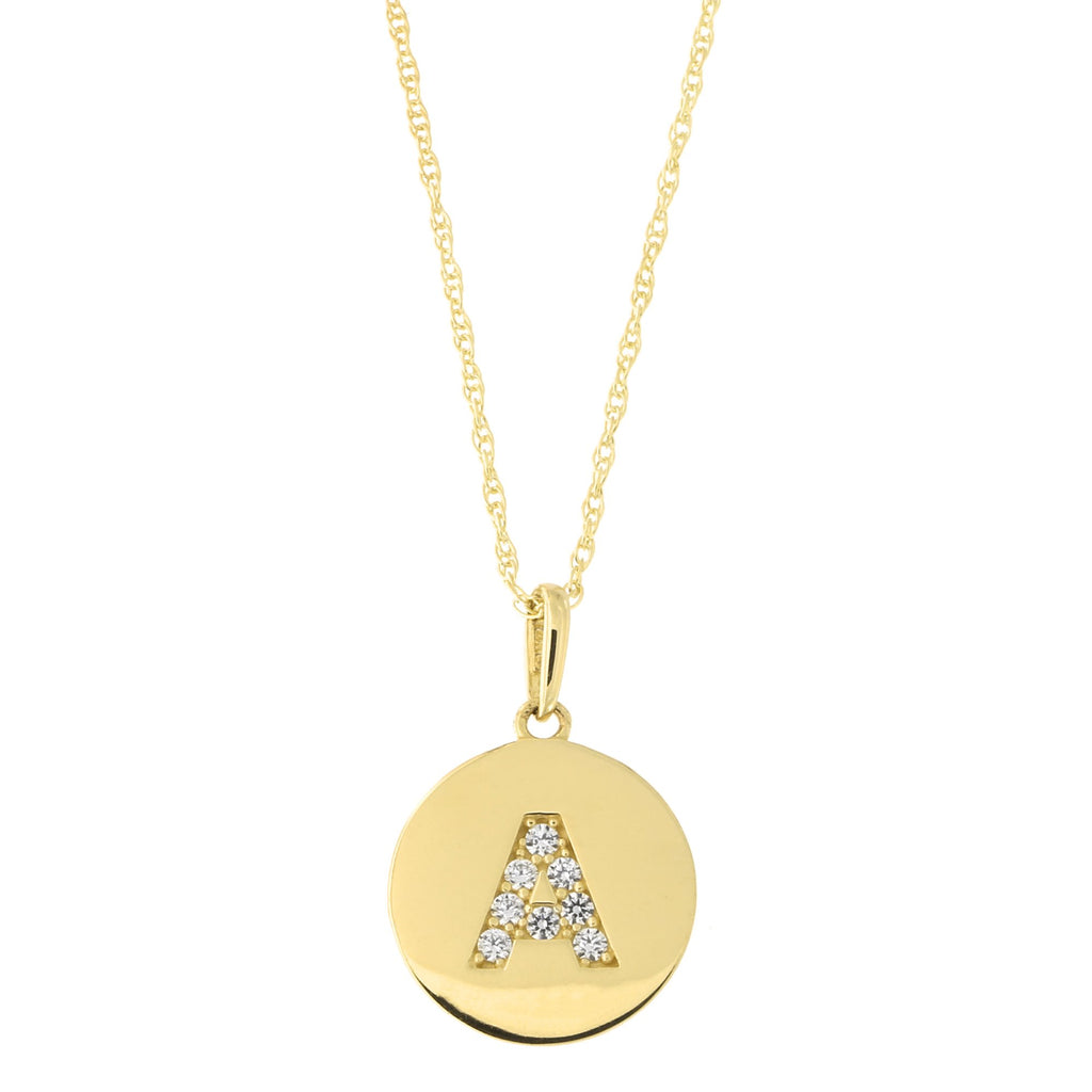 14k Yellow Gold Cubic Zirconia Initial Disc Pendant Necklace, A, 13 inches