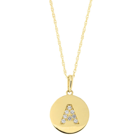 14k Yellow Gold Cubic Zirconia Initial Disc Pendant Necklace, A, 20 inches