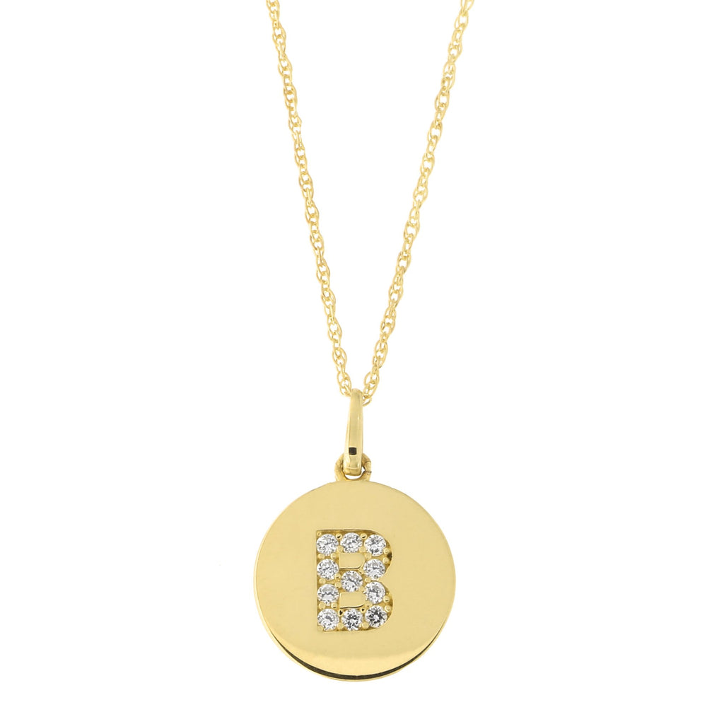 14k Yellow Gold Cubic Zirconia Initial Disc Pendant Necklace, B, 18 inches