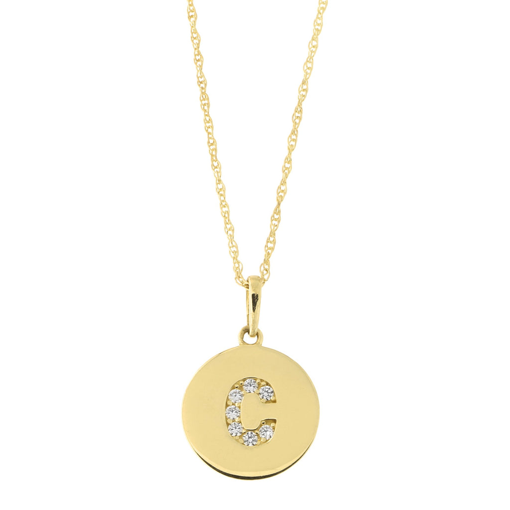14k Yellow Gold Cubic Zirconia Initial Disc Pendant Necklace, C, 13 inches
