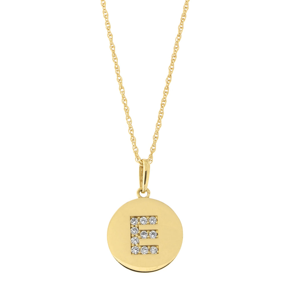 14k Yellow Gold Cubic Zirconia Initial Disc Pendant Necklace, E, 13 inches