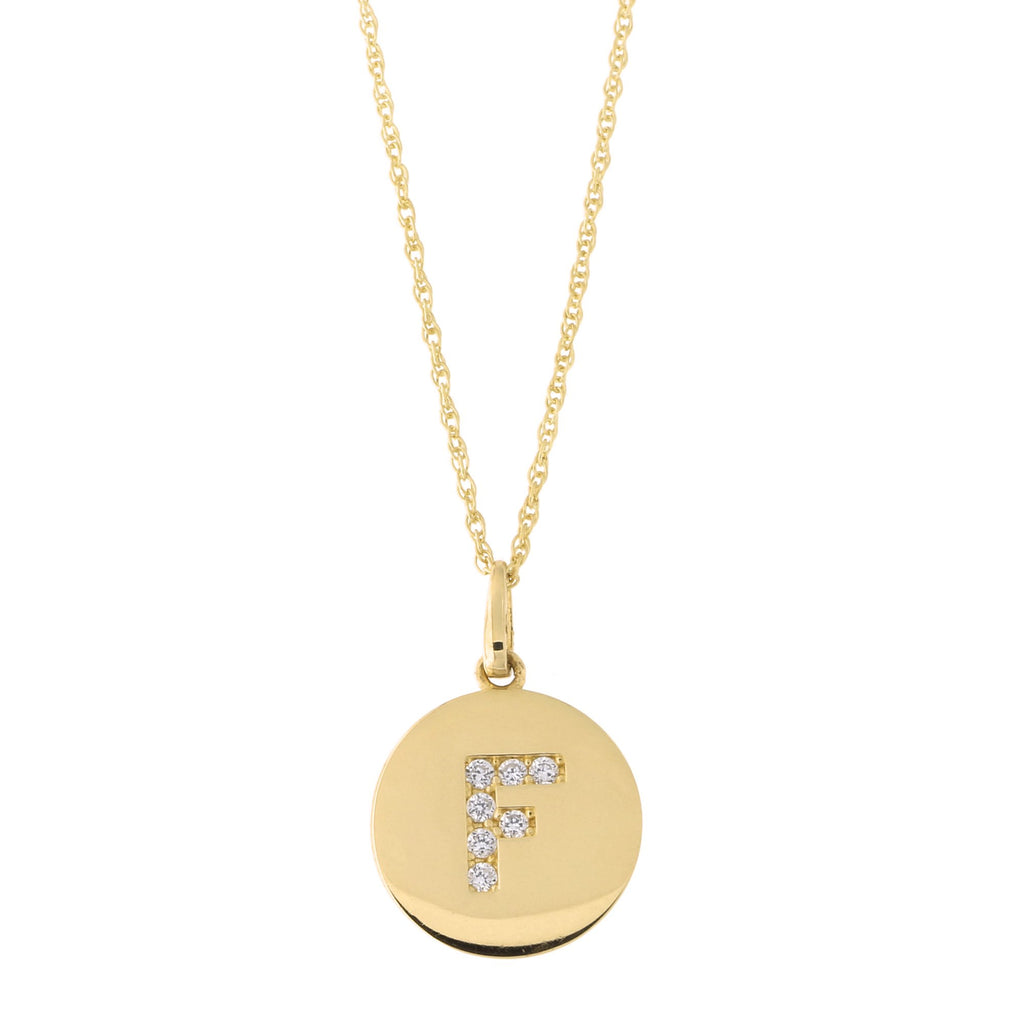 14k Yellow Gold Cubic Zirconia Initial Disc Pendant Necklace, F, 18 inches