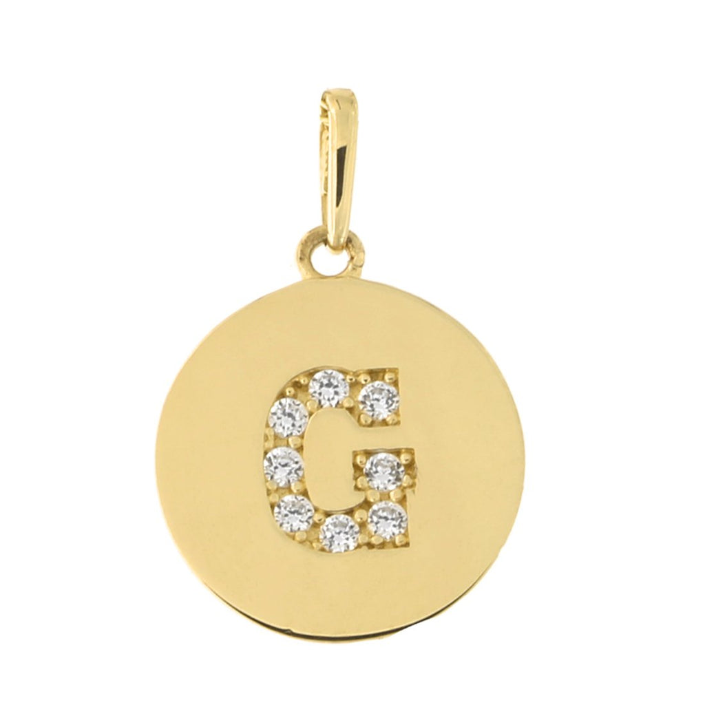 14k Yellow Gold Cubic Zirconia Initial Disc Pendant, G