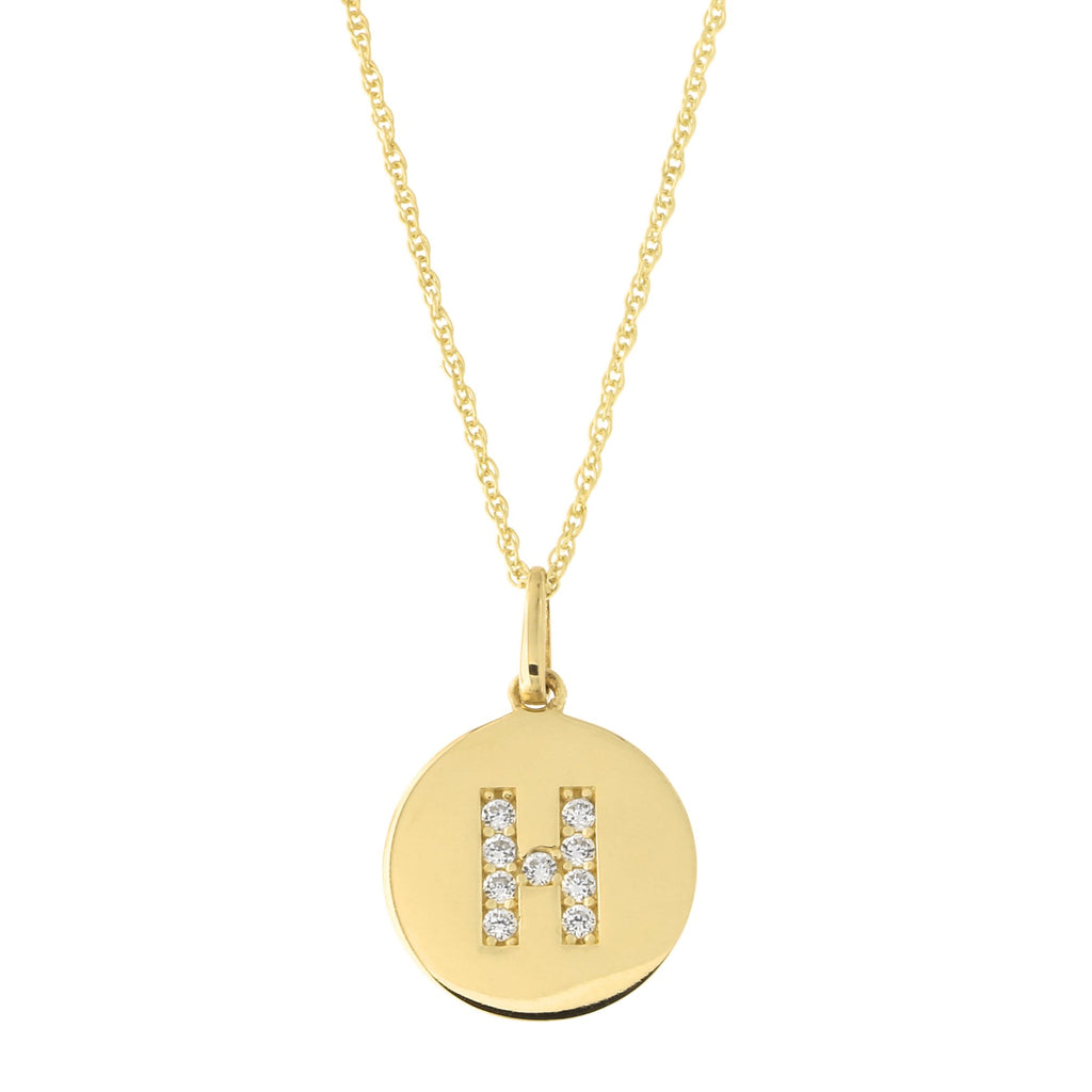 14k Yellow Gold Cubic Zirconia Initial Disc Pendant Necklace, H, 13 inches