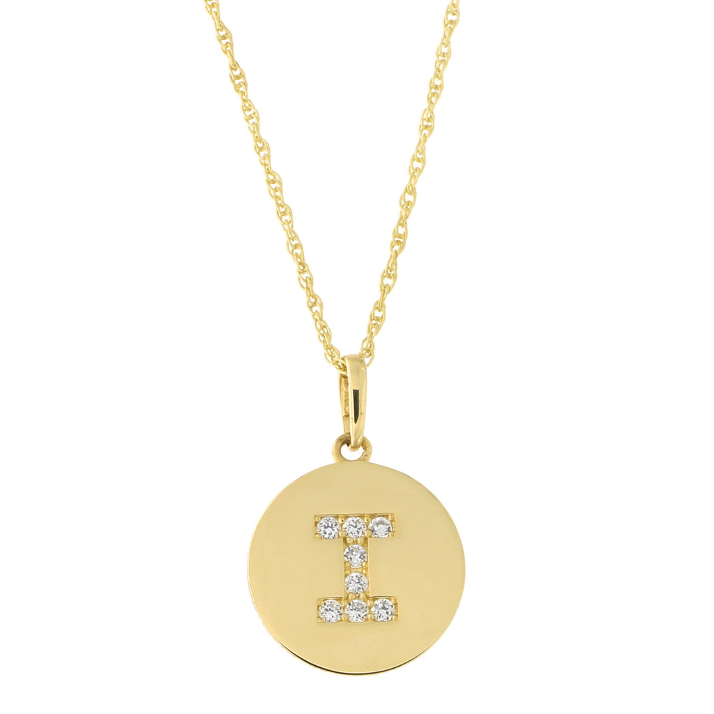 14k Yellow Gold Cubic Zirconia Initial Disc Pendant Necklace, I, 15 inches