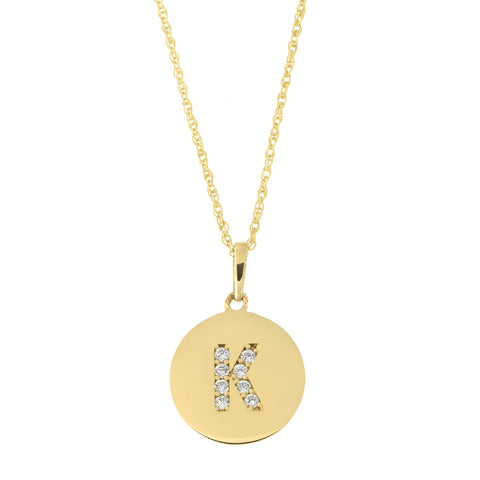 14k Yellow Gold Cubic Zirconia Initial Disc Pendant Necklace, K, 18 inches