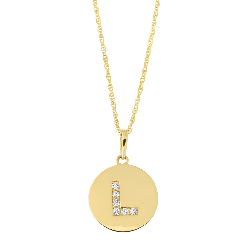 14k Yellow Gold Cubic Zirconia Initial Disc Pendant Necklace, L, 13 inches