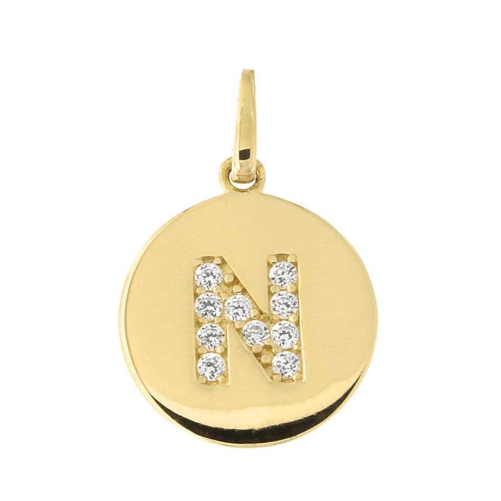 14k Yellow Gold Cubic Zirconia Initial Disc Pendant, N