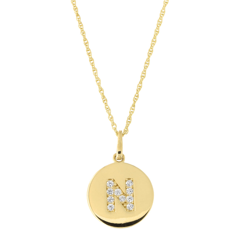 14k Yellow Gold Cubic Zirconia Initial Disc Pendant Necklace, N, 13 inches