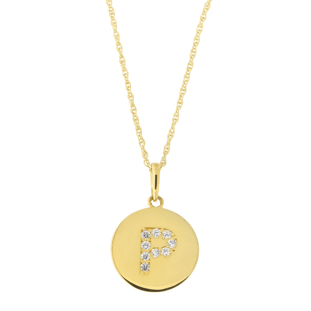 14k Yellow Gold Cubic Zirconia Initial Disc Pendant Necklace, P, 13 inches