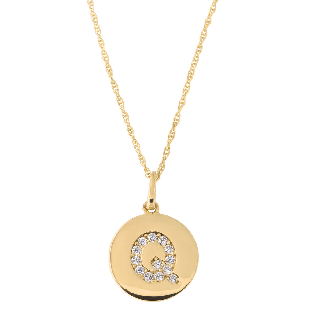 14k Yellow Gold Cubic Zirconia Initial Disc Pendant Necklace, Q, 22 inches