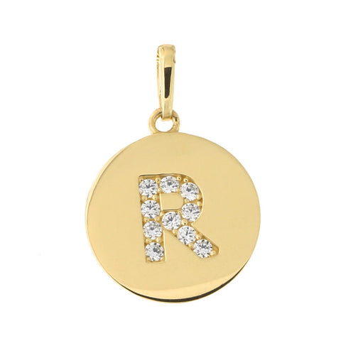 14k Yellow Gold Cubic Zirconia Initial Disc Pendant, R