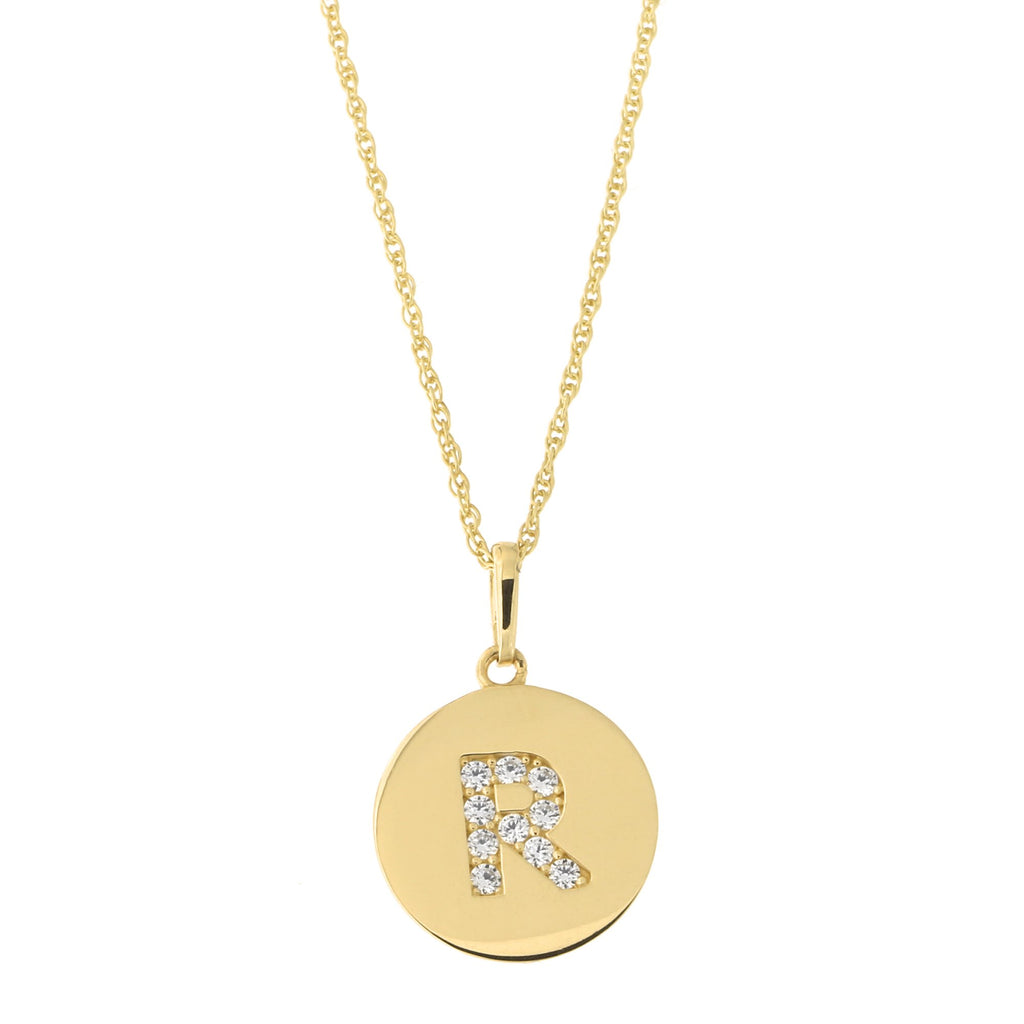 14k Yellow Gold Cubic Zirconia Initial Disc Pendant Necklace, R, 15 inches
