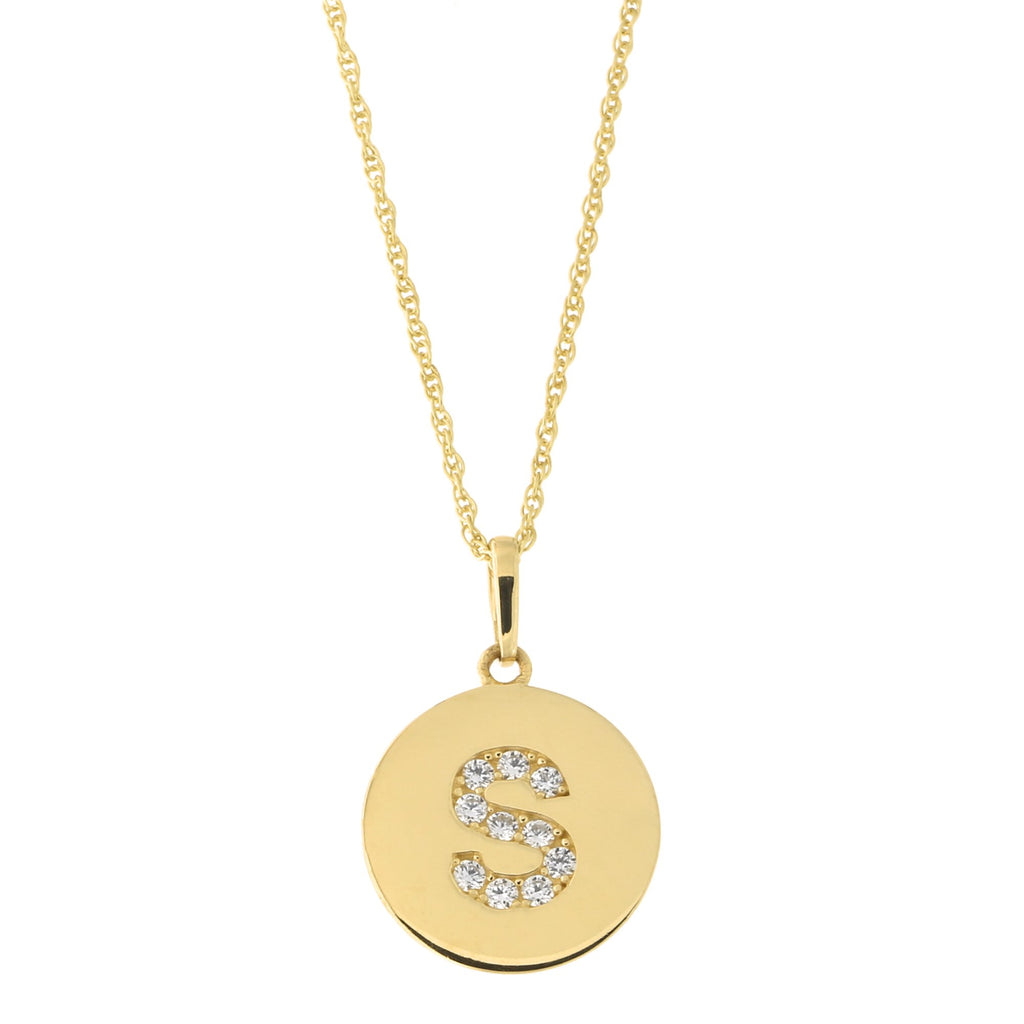 14k Yellow Gold Cubic Zirconia Initial Disc Pendant Necklace, S, 16 inches