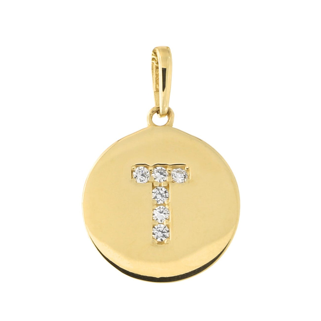 14k Yellow Gold Cubic Zirconia Initial Disc Pendant, T