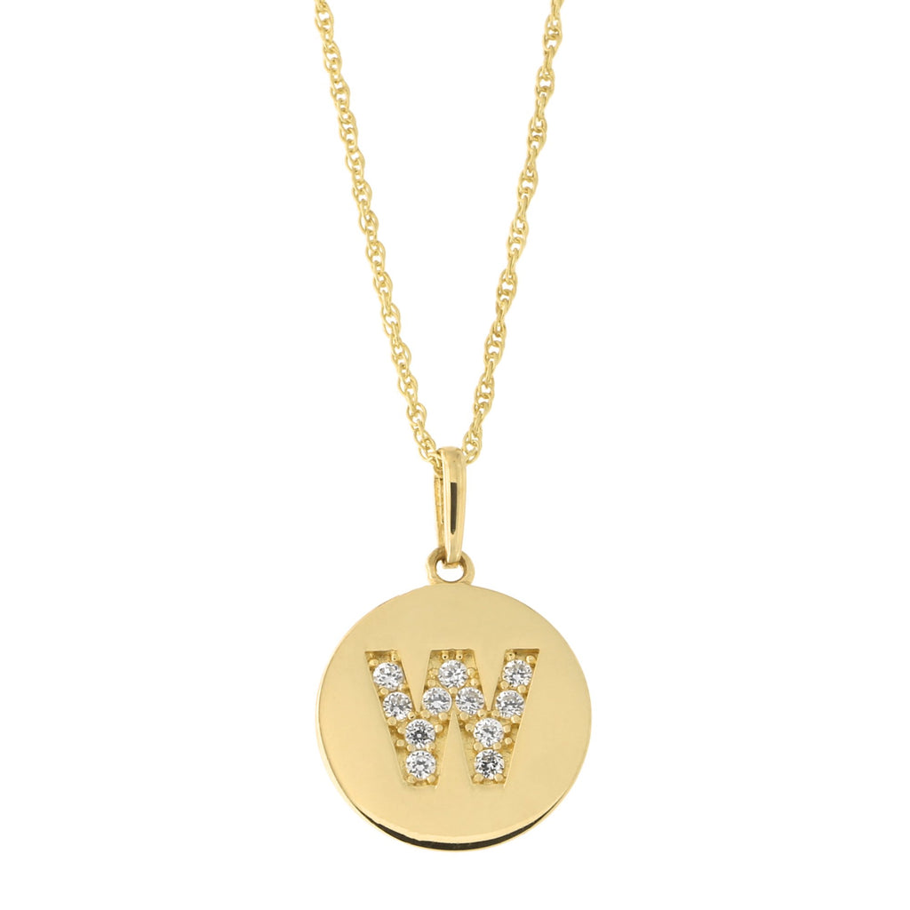 14k Yellow Gold Cubic Zirconia Initial Disc Pendant Necklace, W, 13 inches