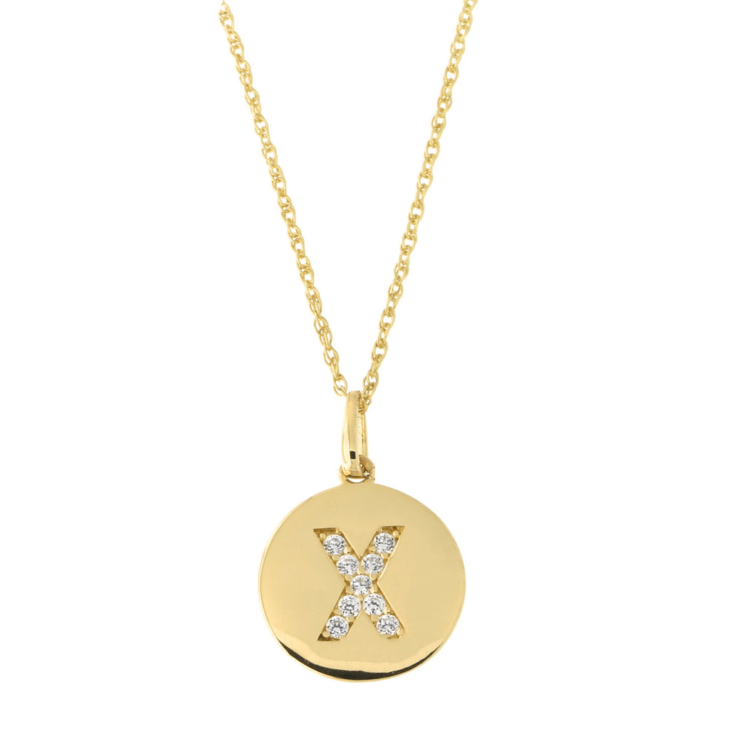 14k Yellow Gold Cubic Zirconia Initial Disc Pendant Necklace, X, 22 inches